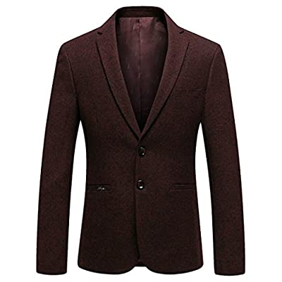 Top ainr Men's Casual One Button Notched Lapel Wool Blend Blazer Suit Jacket free shipping