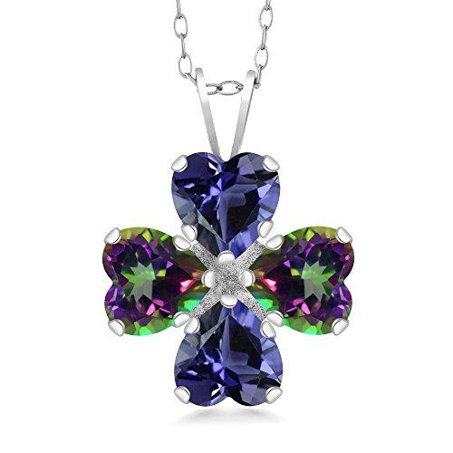 - Gem Stone King 3.06 Ct Heart Shape Blue Iolite Green Mystic Topaz 925 Sterling Silver Pendant