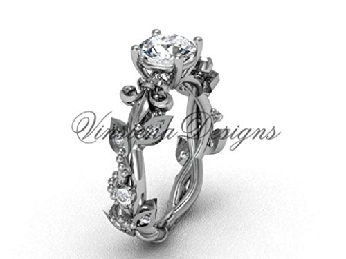 Platinum diamond leaf and vine, Fleur de Lis engagement ring VD20859