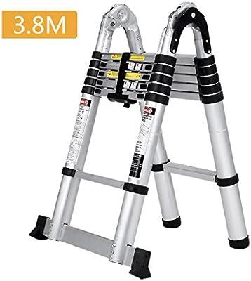 Finether 3.8M - Escalera telescópica plegable de aluminio extensible multiuso hasta 150 kg de aluminio de alta calidad robusta: Amazon.es: Bricolaje y herramientas