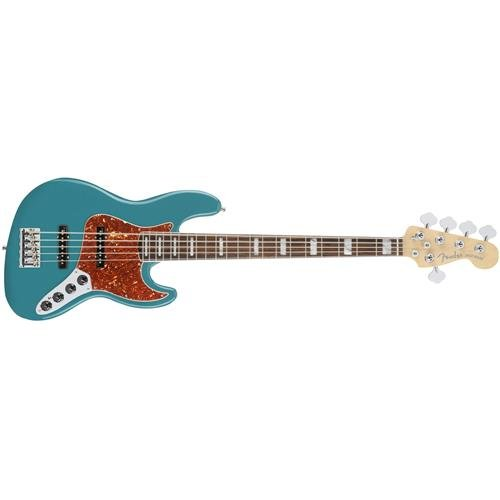 Active Jazz Electric Bass (Fender American Elite Jazz Bass V 5-String Electric Bass Guitar Ocean Turquoise with Ebony Fingerboard (SN:US17024718))