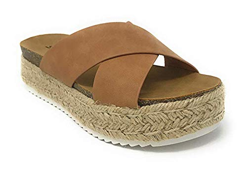 - soda Womens Coky Tan Casual Espadrilles Trim Rubber Sole Flatform Studded Wedge Buckle Ankle Strap Open Toe Sandals (7)
