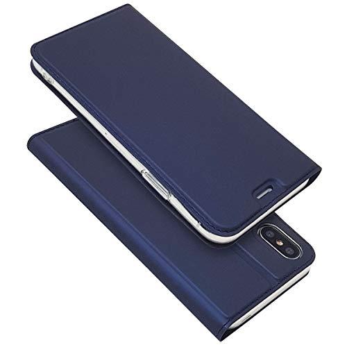 [해외]IPhone XS Max 사례 수첩 형 자석 카드 수납 스탠드 기능 PU 가죽 TPU 충격 초경량 수첩 スマホケ?ス 아이폰 XS Max 케이스 (iPhone XS Max 전용 블루) / iphone xs Max case notebook type Magnet card storage stand function PU leather TPU shoc...