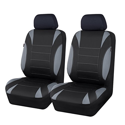 CAR PASS Neoprene 6 Pieces waterproof Two Front Seat Car Covers Set - Black and Gray