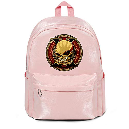 Womens Girl Boys College Bookbag Fashion Nylon Water Resistant Travel Daypack Backpack Five-Finger-Death-Punch-Logo-Design- Bag Purse Pink ()