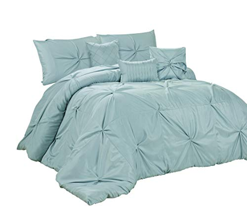 HIG 7 Piece Comforter Set King-Blue Elastic Embroidery-Rosita Bed in A Bag- Soft, Hypoallergenic,Fade Resistant-1 Comforter,2 Shams,3 Decorative Pillows,1 Bedskirt (Blue, King)