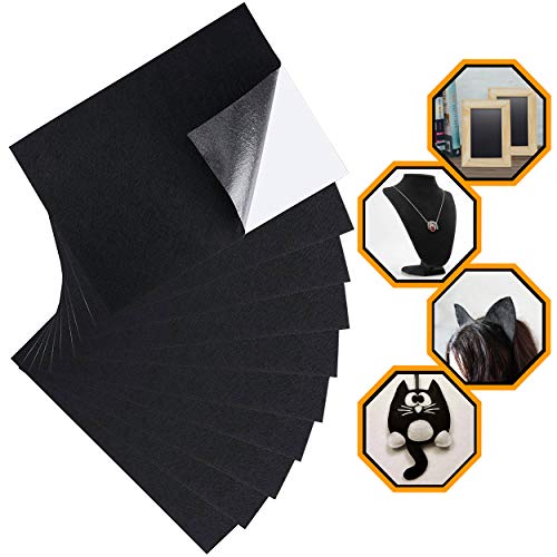 Backing Paper Pad - ELV Black Felt Fabric Adhesive Sheets (10 Count) Multipurpose Velvet Sheet with Sticky Glue Back for Art & Crafts, Jewelry Box Liner, Furniture Protector Pads Water Resistant (A4 Size) (Black)