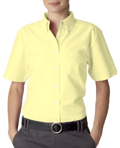 Ladies' Classic Wrinkle-Free Short-Sleeve Oxford (Butter) (Large)