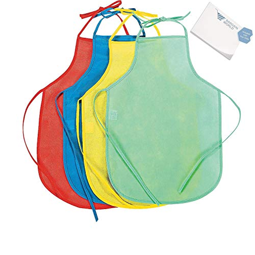 Bargain World Kid's Colorful Laminated Aprons (With Sticky Notes) (Laminated Apron Kids)