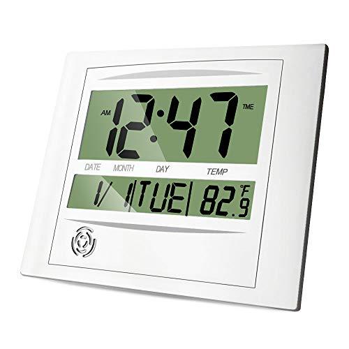 HeQiao Digital Wall Clock Brushed Aluminum LCD Alarm Clock (Luxury Silver)