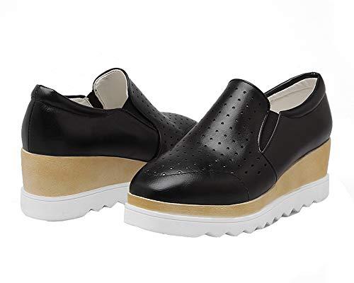 PU GMBDB013318 Unie à Légeres Noir Talon Couleur Cuir Tire Femme AgooLar Chaussures Correct P8wBXUq