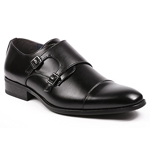 Metrocharm MC103 Men's Double Monk Strap Cap Toe Slip On Loafers Dress Shoes (12, - Shoes Monk Strap Dress