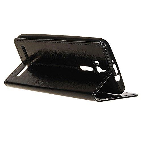Lusee® PU Caso de cuero sintético Funda para Asus ZenFone Go ZB552KL / Go TV ZB551KL 5.5 Pulgada Cubierta con funda de silicona botón caballo Loco patrón negro caballo Loco patrón negro
