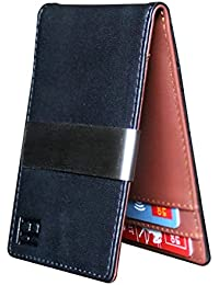Minimalist Slim Leather Wallet Money Clip Holds 8 Cards