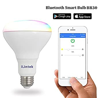 ilintek Smart bombilla LED Bluetooth App Smartphone Controlado BR30 Multicolor LED de intensidad regulable Música Bombilla