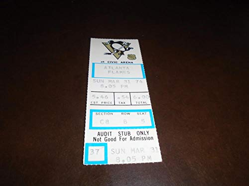 (1974 PITTSBURGH PENGUINS NHL TICKET STUB SYL APPS JR 1ST TO REACH 60 ASSISTS)