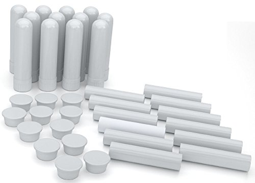Essential Oil Aromatherapy Blank Nasal Inhaler Tubes (12 Complete Sticks), Empty White Vapor Inhalers w/Wicks for Essential Oil, Refillable
