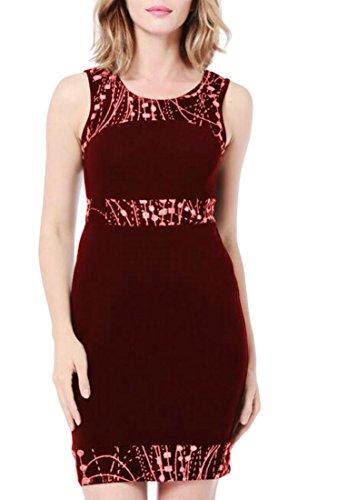 Cromoncent Femmes Sundresses Impression Crayon Maigre Taille Empire Robe De Soirée Courte Vin Rouge