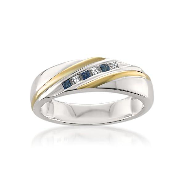14k-Two-Tone-White-Yellow-Gold-Princess-cut-Diamond-Sapphire-Mens-Wedding-Band-15-ctw-I-J-I1-I2