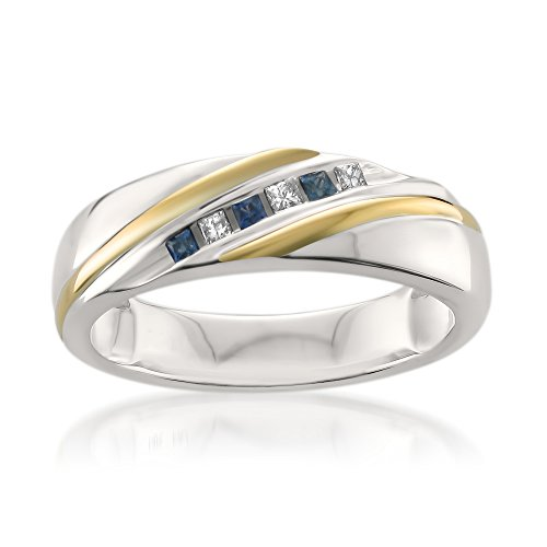 La4ve Diamonds 14k Two-Tone White & Yellow Gold Princess-Cut Diamond & Sapphire Men's Wedding Band (1/5 ctw, I-J, I1-I2), Size 12