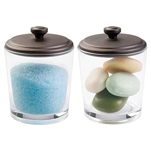 - mDesign Bathroom Vanity Glass Canister Jar for Epsom Bath Salts, Soap, Cotton Balls, Swabs - Pack of 2, Clear/Bronze