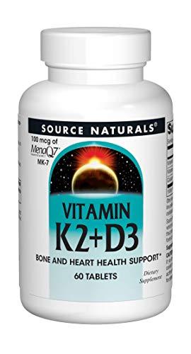 Source Naturals Vitamin K2 + D3 Bone & Heart Health Complex - 400 IU Vitamin D3 & 100 mcg Vitamin K2 (MK-7) with Calcium - 60 Tablets