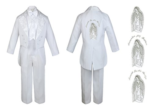 Baby Boy Kid Christening Baptism Church White Tail Suit Mary Maria on Back Sm-7 (6, Silver Spanish) (White Church Ladies Suits For)