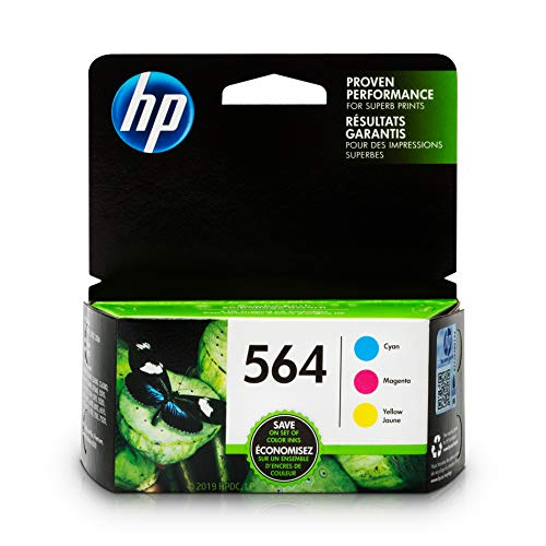 HP 564 Ink Cartridges: Cyan Magenta & Yellow 3 Ink Cartridges (CB318WN CB319WN CB320WN) for HP Deskjet 3520 3521 3522 3526 HP Officejet 4610 4620 4622 HP Photosmart: 5510 5512 5514 5515 5520 5525 (Printer Hp Ink Photosmart)