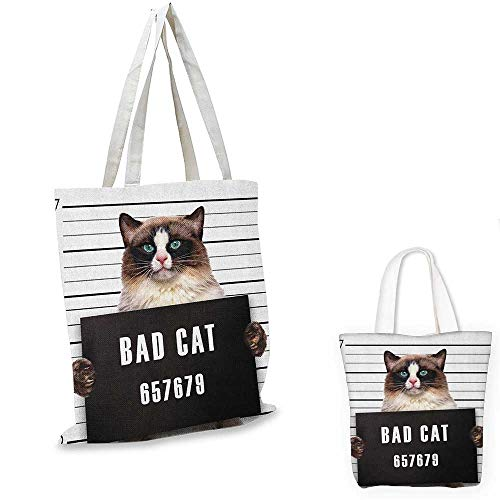 (Cat shopping bag storage pouch Bad Gang Cat in Jail Kitty Under Arrest Criminal Prisoner Hangover Artsy Work small tote shopping bag Brown Black White. 15