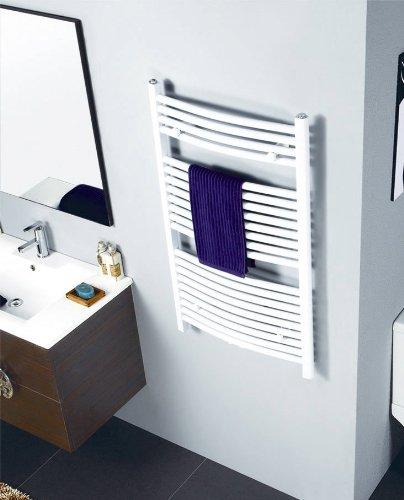 Badheizkörper Breite: 600 mm Oval Weiß R20 - Mittelanschluss - Seitenanschluss - Größe 600x1500