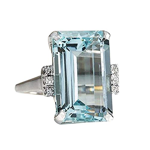 Barhalk Trendy Ring, Women Fashion Luxury Aquamarine Gemstone Ring Blue Topaz Crystal Wedding Band Ring Jewelry Size 6-10(US Size), Anniversary Engagement Presents (Blue 7)