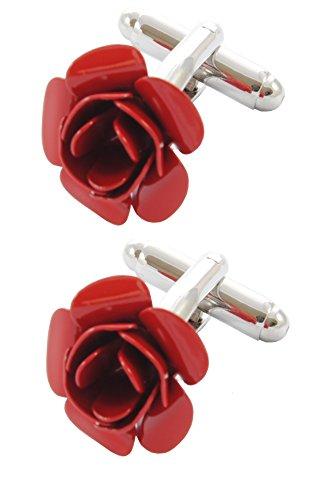 Lancaster Cufflinks - COLLAR AND CUFFS LONDON - Premium Cufflinks with Gift Box - Red Rose - Flower - Garden - Valentine Romance Love Lancaster Round