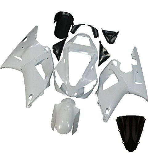 XMT-MOTO ABS Fairing Bodywork Kit for YAMAHA YZF R1 2000-2001(Unpainted White,1 Set)