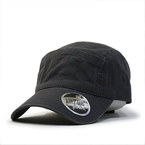 Washed Cotton Twill Five Panel Adjustable Camper Caps (Charcoal Gray) (Crown Five Panel Cap)