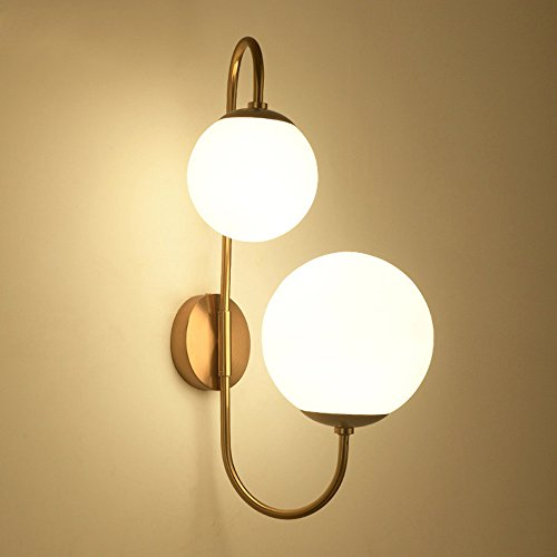 Aged Brass Wall Light (KunMai Modern Chic Milky White Glass Globe Two-Light Indoor Wall Lamp in Aged Brass for Bedroom Bathroom Hallway)