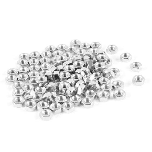 100Pcs M3 3mm Female Thread Hex Metal Nut Fastener Silver Tone