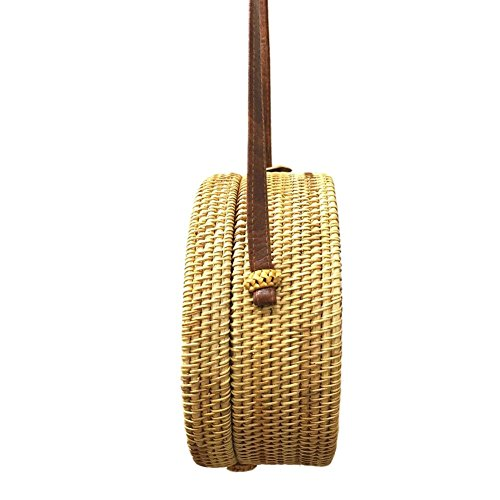 No Rattan Straw 5 Prosperveil Beach Handbag Women Round Woven Shoulder Bags Summer Messenger 1nxxFw6B
