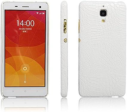 Funda Xiaomi Mi4 PU Cuero Patrón Cocodrilo Bumper Back Case Cover (Blanca)