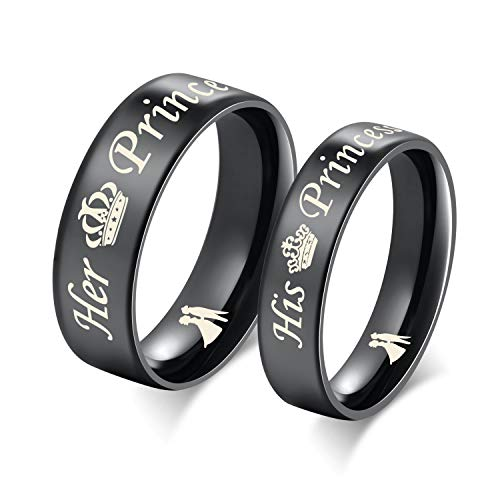 Amazing Prince and Princess Titanium Stainless Steel Wedding Band Set Anniversary Engagement Promise Ring (Global Price Fixing)