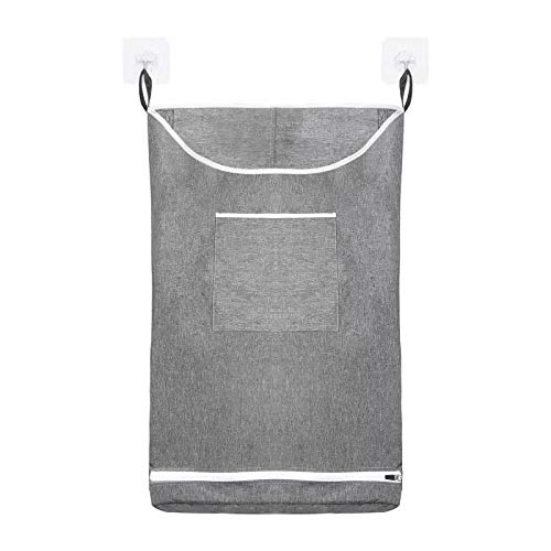 bubion Hanging Laundry Hamper Bag Space Saving Wall with Stainless Steel Hooks Dirty Clothes Bag Large Storage Folding Basket Hanging Zippered Laundry Basket for College, Closet, Behind Doors