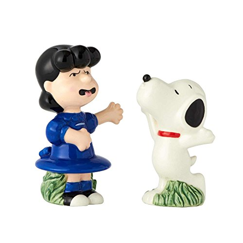 "(Enesco Licensed Ceramics ""Peanuts"" Snoopy and Lucy Salt and Pepper Shakers, Multicolor)"