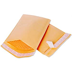Fu Global #000 4x8 Inches Kraft Bubble Mailers Padded Envelopes Pack of 50