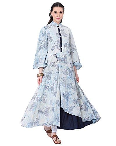 "Lagi Designer Cotton Layered Kurti for Women Printed Tunic Top Banded Collar ¾ th Sleeve Dress"" (S, ()"