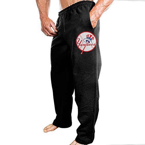 (Vinda Men's Sweatpants NewYork Baseball Team Black Size XXL)