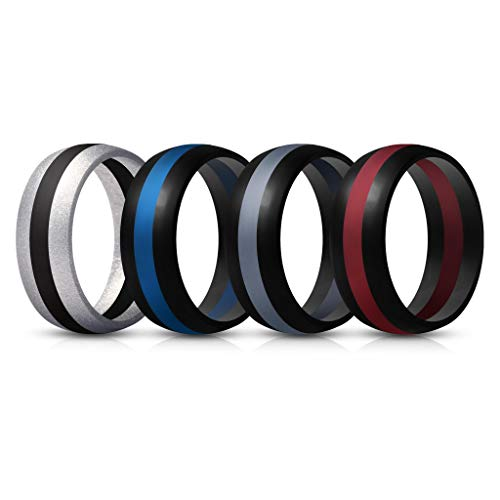ThunderFit Mens Silicone Rings Wedding Bands – 4 Pack Classic & Middle Line (Black Middle Red, Black Middle Dark Grey, Silver Middle Black, Black Middle Blue, 9.5-10 (19.8mm))