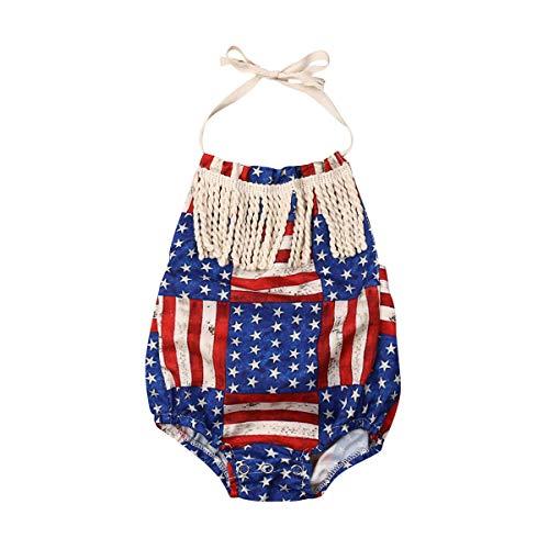 - AUTIFUA Newborn Baby Girl 4th of July Celebrate Summer Outfit Sling Tassel Bodysuit Romper (100cm-12-18Months)