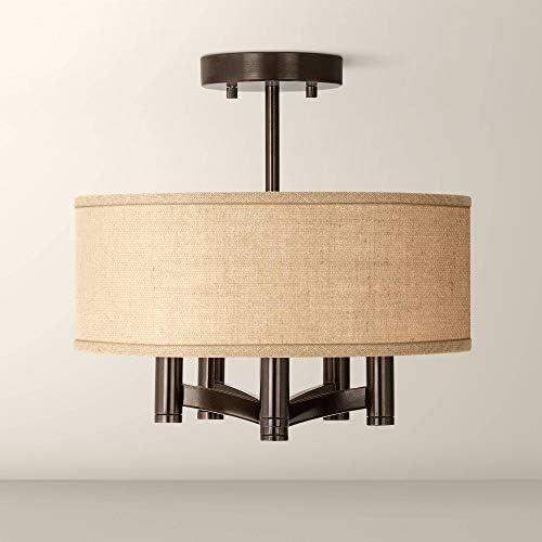 Ava Modern Ceiling Light Semi Flush Mount Fixture Tiger Bronze 14 Wide 5-Light Woven Burlap Drum Shade for Bedroom Kitchen Living Room Hallway Bathroom – Possini Euro Design