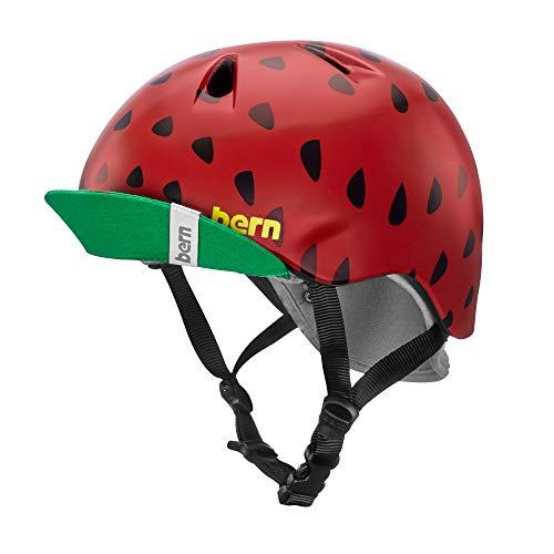 Kids Helmet Visor - BERN - Kid's Nina Helmet, Satin Red Strawberry w/Flip Visor, S/M
