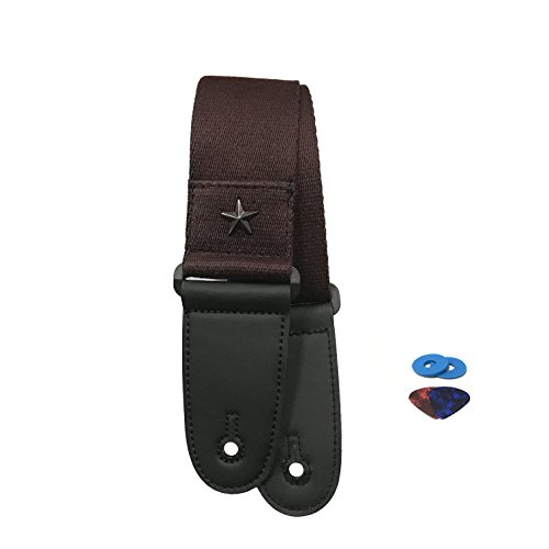 Guitar Strap Adjustable Soft Cotton with Leather End and Pick Holder Pocket for Acoustic and Electric Guitar Coffee Brown Color