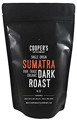 Organic Fair Trade Sumatra Dark Roast Coffee, Single Origin Sumatra Gourmet Coffee - 1lb Bag - Roasted Coffee Beans